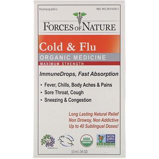 Forces of Nature, Cold & Flu, Organic Medicine, ImmuneDrops, Maximum Strength, 0.34 oz (10 ml)