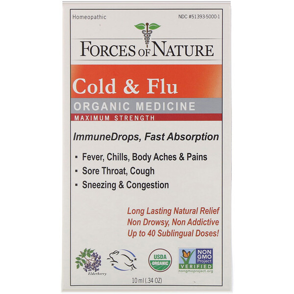 Cold & Flu, Organic Medicine, ImmuneDrops, Maximum Strength, 0.34 oz (10 ml)