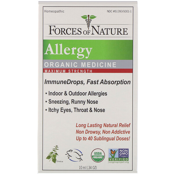 Forces of Nature, Allergy, Organic Medicine, ImmuneDrops, Maximum Strength, 0.34 oz (10 ml)