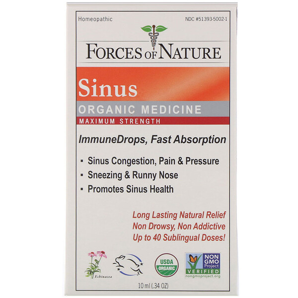 Forces of Nature, Sinus, Organic Medicine, ImmuneDrops, Maximum Strength, .34 oz (10 ml) (Discontinued Item)