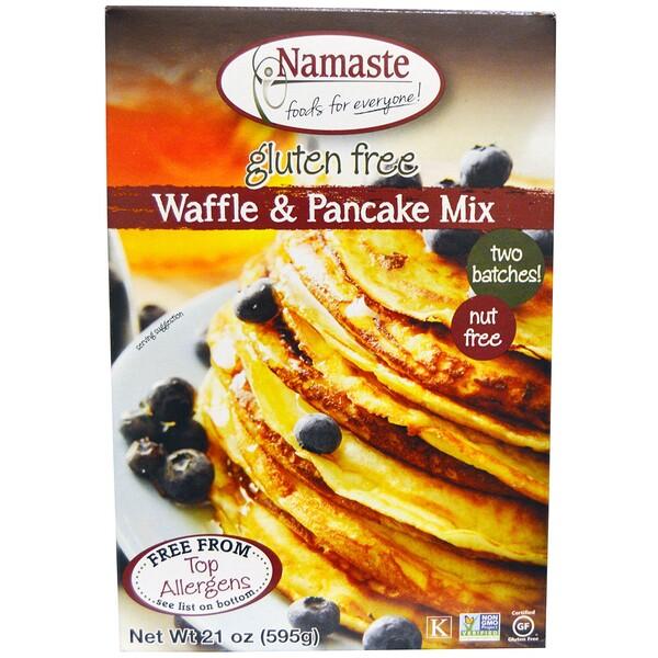 Namaste Foods, グルテンフリー ワッフル&パンケーキミックス, 21オンス(595 g) (Discontinued Item)