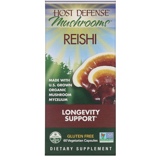 Mushrooms, Reishi,  Longevity Support, 60 Vegetarian Capsules