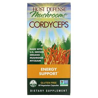 Fungi Perfecti, HostDefense, гриб кордицепс, поддержка выработки энергии, 60вегетарианских капсул