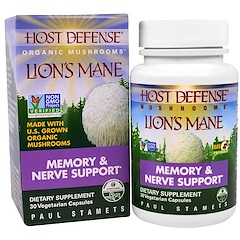 Fungi Perfecti, Host Defense, Lion's Mane, Memory & Nerve Support, 30 Veggie Caps