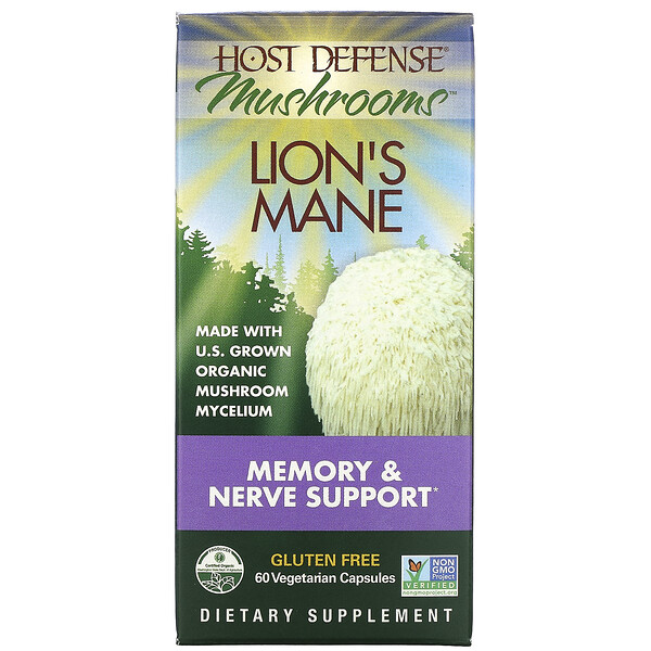 Host Defense Lion's Mane, Memory & Nerve Support, 60 Vegetarian Capsules