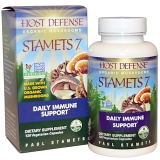 Fungi Perfecti, Host Defense, Stamets 7, Daily Immune Support, 120 Veggie Caps