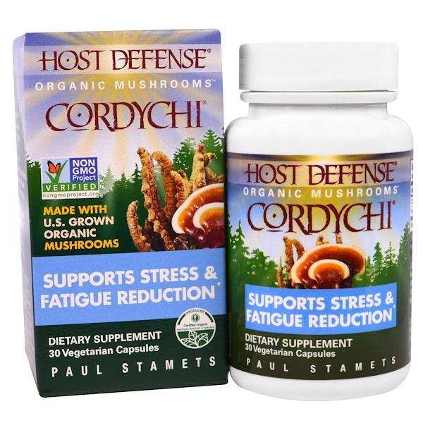 Fungi Perfecti, 主體防禦,Cordychi,支持壓力和疲勞減少,30素食膠囊