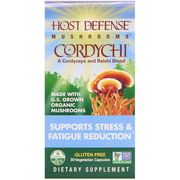 Fungi Perfecti, Host Defense, Cordychi, Supports Stress & Fatigue Reduction, 30 Vegetarian Capsules (Discontinued Item)