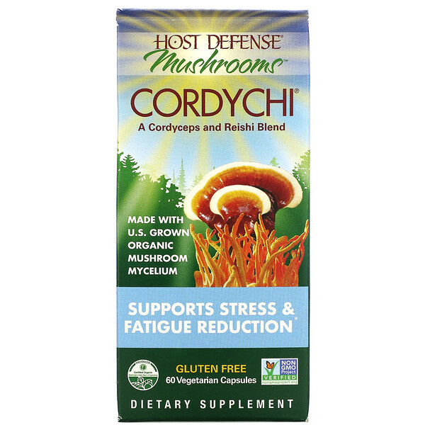 Host Defense Mushrooms, Cordychi, Supports Stress & Fatigue Reduction, 60 Vegetarian Capsules