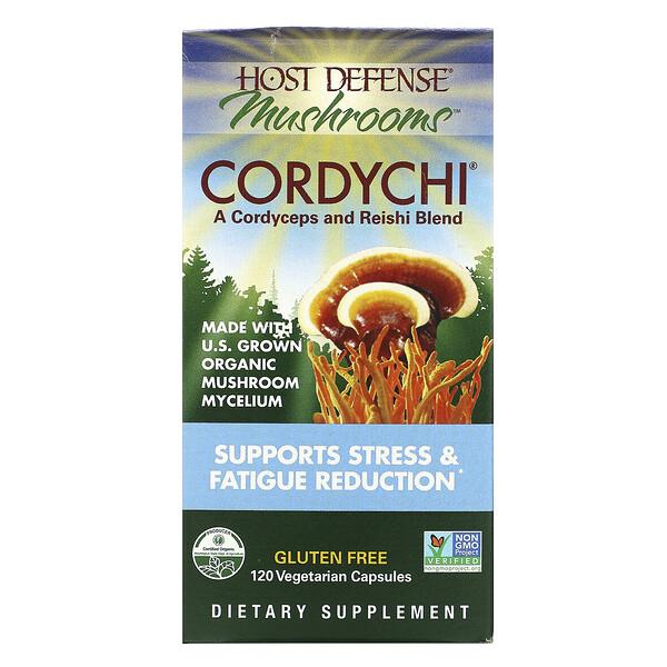 Fungi Perfecti, Hose Defense Mushrooms، Cordychii، يعزز تقليل الإجهاد والتعب الشديد، 120 كبسولة نباتية