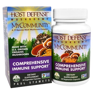Fungi Perfecti, Host Defense Mushrooms, MyCommunity, Comprehensive Immune Support, 30 Veggie Caps