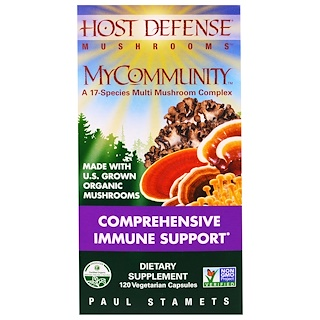 Fungi Perfecti, MyCommunity, Comprehensive  Immune  Support, 120 Vegetarian  Capsule