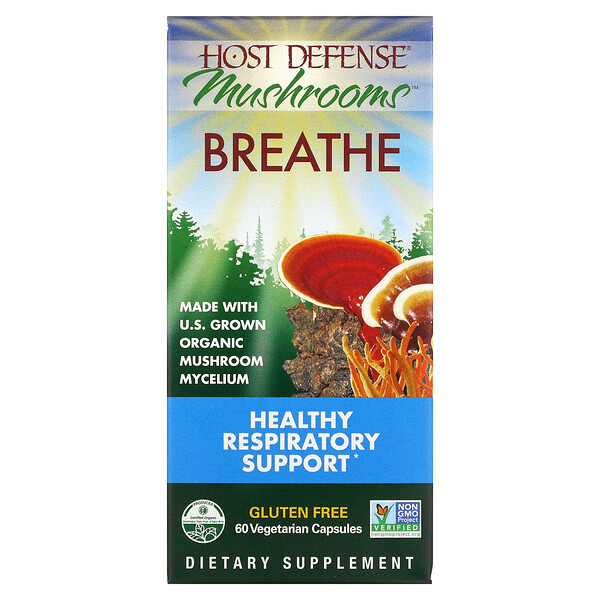 Host Defense Mushrooms, Breathe, Healthy Respiratory Support, 60 Vegetarian Capsules
