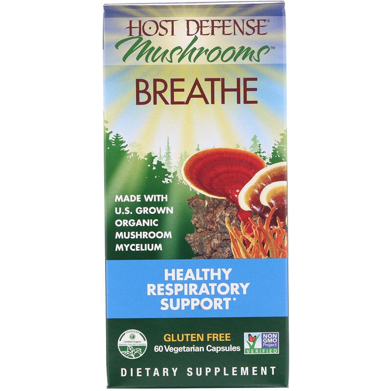 Mushrooms, Breathe, Healthy Respiratory Support, 60 Vegetarian Capsules