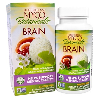 Fungi Perfecti, MycoBotanicals, cerebro, 60 cápsulas vegetales