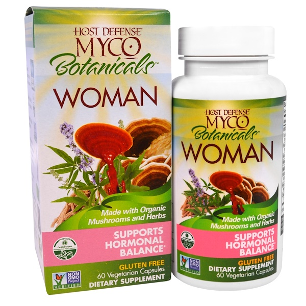 Fungi Perfecti, Host Defense, Myco Botanicals Woman, Supports Hormonal Balance, 60 Veggie Caps