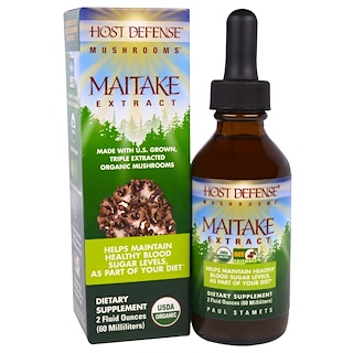 Fungi Perfecti, Host Defense Mushrooms, Organic Maitake Extract, Helps Maintain Healthy Blood Sugar Levels, As Part of Your Diet, 2 fl oz (60 ml)