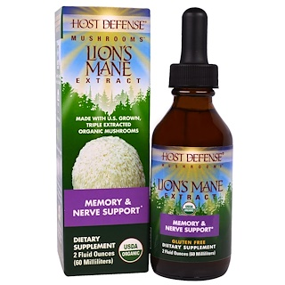 Fungi Perfecti, Host Defense Mushrooms, Organic Lion's Mane Extract, Memory & Nerve Support, 2 fl oz (60 ml)