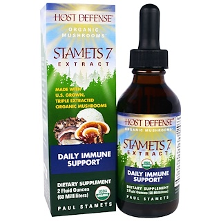 Fungi Perfecti, Host Defense, Organic Stamets 7 Extract, Daily Immune Support, 2 fl oz (60 ml)