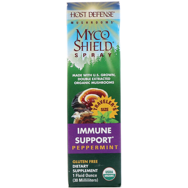 Mushrooms,  Myco Shield Spray, Immune Support Peppermint, 1 fl oz (30 ml)
