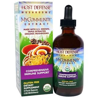Fungi Perfecti, Host Defense Mushrooms, Organic MyCommunity Extract, Comprehensive Immune Support , 4 fl oz (120 ml)