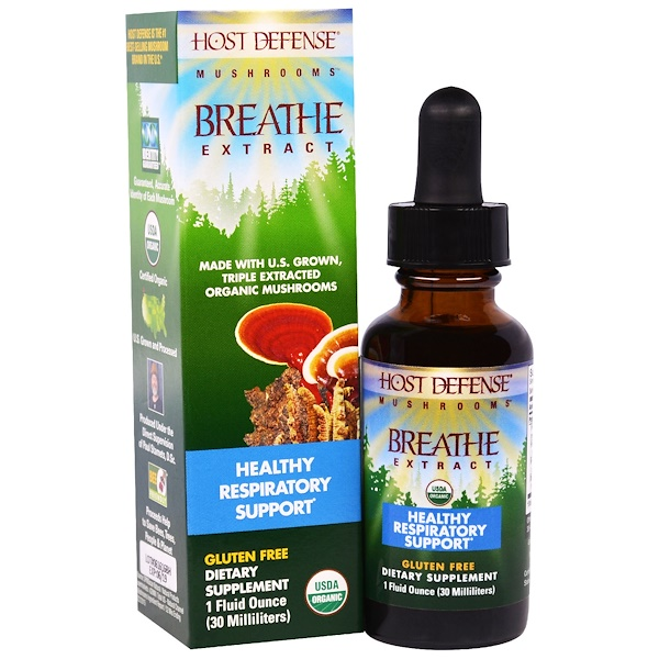 Fungi Perfecti, Host Defense Mushrooms, Organic Breathe Extract, Healthy Respiratory Support, 1 fl oz (30 ml) (Discontinued Item)