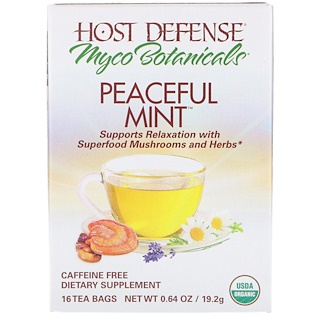 Fungi Perfecti, MycoBotanicals, Peaceful Mint, 16 Tea Bags, 0.64 oz (19.2 g)