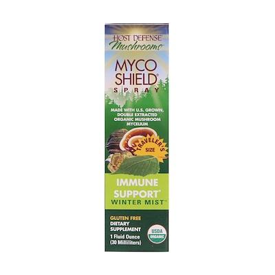 Fungi Perfecti Host Defense Mushrooms, Organic Myco Shield Spray, Immune Support Winter Mist, 1 fl oz (30 ml)