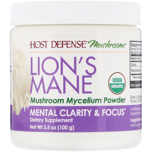 Lion's Mane, Mushroom Mycelium Powder, Mental Clarity & Focus, 3.5 oz (100 g)