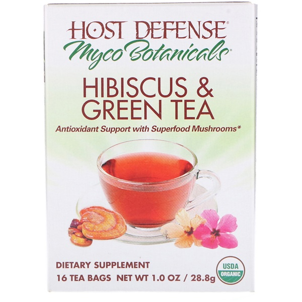 Fungi Perfecti, MycoBotanicals, Hibiscus & Green Tea, 16 Tea Bags, 1.0 oz (28.8 g)