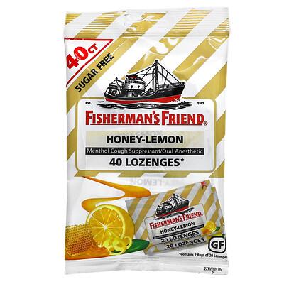 Fisherman's Friend Menthol Cough Suppressant Lozenges, Sugar Free, Honey-Lemon, 40 Lozenges