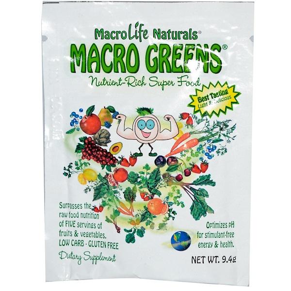 Special, Macro Life Naturals Inc., Macro Greens, Nutrient-Rich Super Food, 9.4 g (Discontinued Item)
