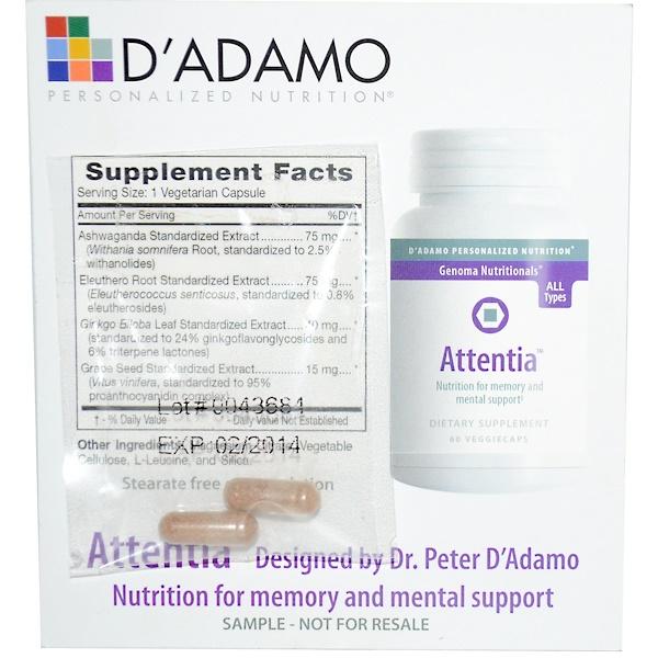 Special, D'Adamo, Genoma Nutritionals, Personalized Nutrition, Attentia, 2 Veggie Caps (Discontinued Item)