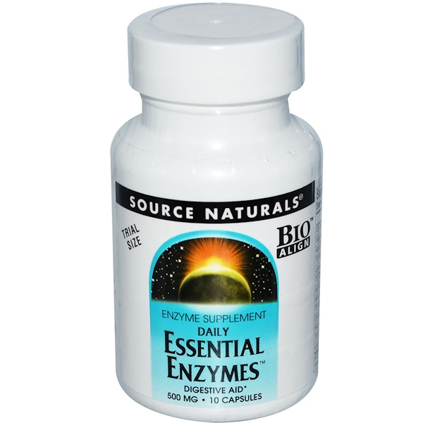Special, Source Naturals, Daily Essential Enzymes, 500 mg, 10 Capsules (Discontinued Item)
