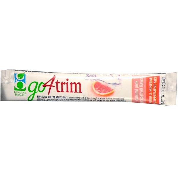 Special, Genuine Health, Go4Trim, Herb & Mineral Supplement Mix, Natural Pink Grapefruit Flavor, 0.1 oz (2.8 g) (Discontinued Item)