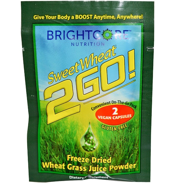 Special, Sweet Wheat, 2 Go! Freeze Dried Wheat Grass Juice Powder, 2 Vegan Caps (Discontinued Item)