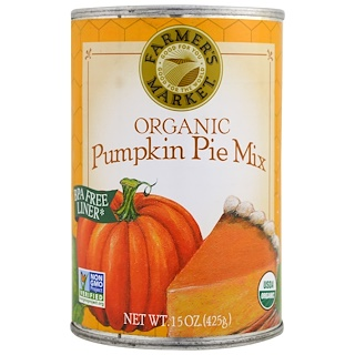 Farmer's Market Foods, Organic Pumpkin Pie Mix, 15 oz (425 g)
