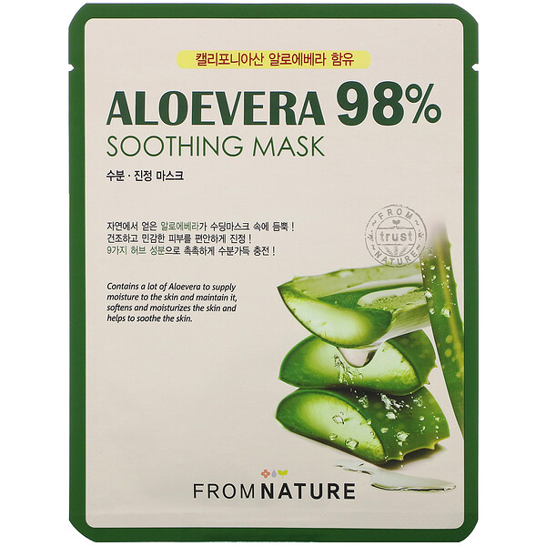 FromNature, Aloe Vera, 98% Soothing Mask, 1 Mask