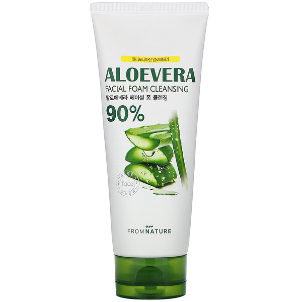 FromNature, Aloe Vera, 90%, Facial Foam Cleansing, 130 g