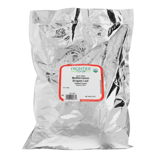 Frontier Natural Products, Organic Cut & Sifted Mediterranean Oregano Leaf, 16 oz (453 g)