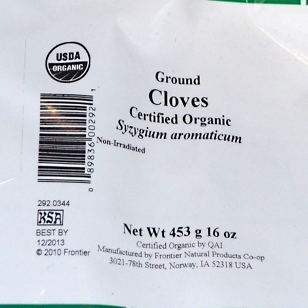 Frontier Natural Products, Organic Ground Cloves, 16 oz (453 g) (Discontinued Item)