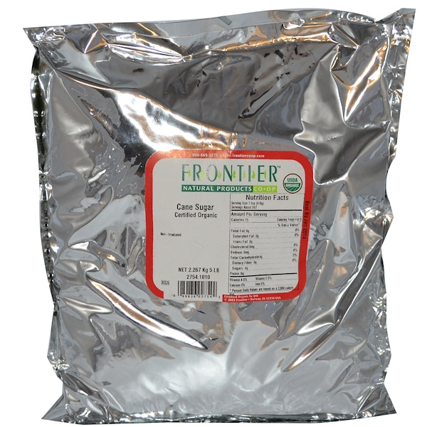 Frontier Natural Products, Organic Cane Sugar, 5 lbs (2.267 kg) (Discontinued Item)