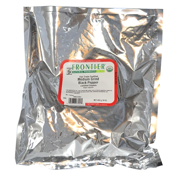 Frontier Natural Products, Organic Fair Trade Certified Medium Grind Black Pepper, 16 oz (453 g) (Discontinued Item)