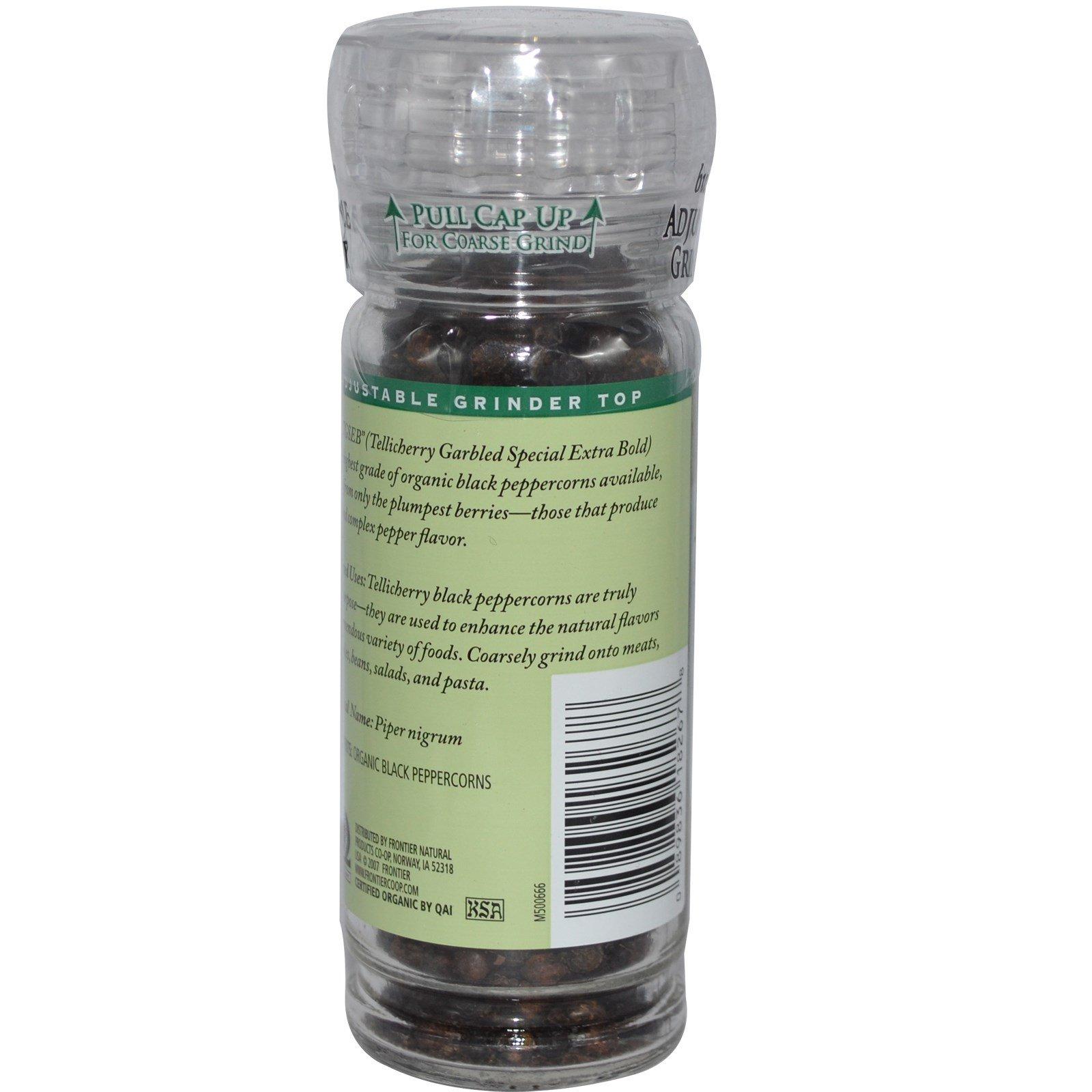 Frontier Natural Products, Органический черный перец Tellicherry горошком, 1,76 унции (50 г)