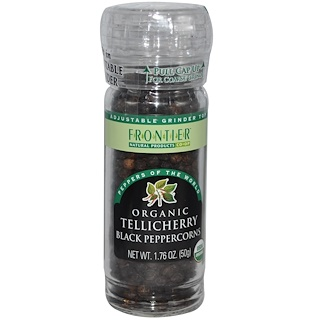 Frontier Natural Products, Organic Tellicherry Black Peppercorns, 1.76 oz (50 g)