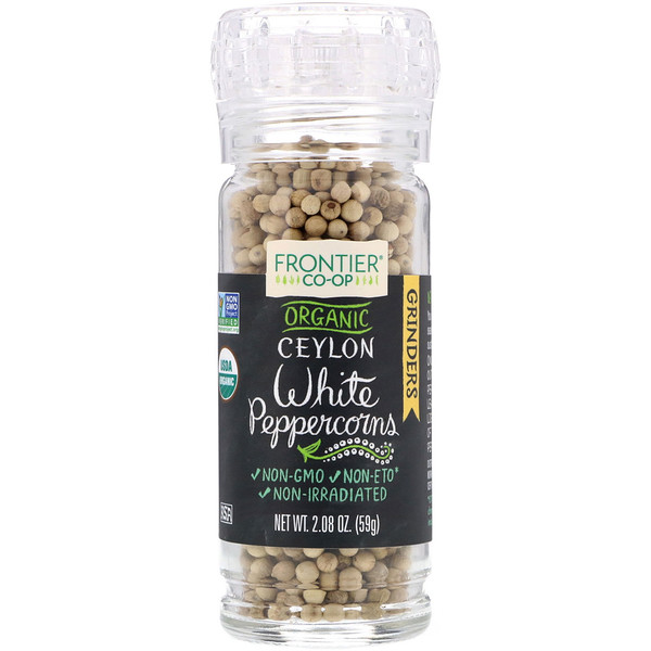 Frontier Natural Products, Organic Ceylon White Peppercorns, 2.08 oz (59 g)