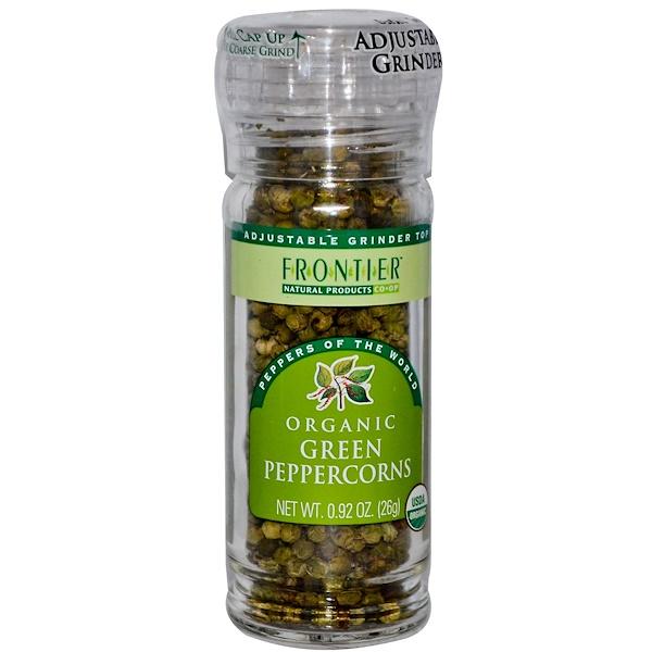 Frontier Natural Products, Органический зеленый перец горошком, 0,92 унции (26 г) (Discontinued Item)