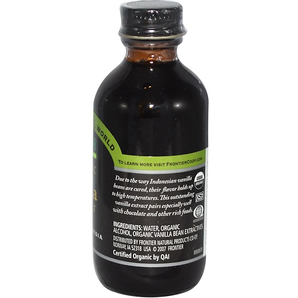 Frontier Natural Products, Organic Vanilla Extract, Indonesia, Farm Grown , 2 fl oz (59 ml)
