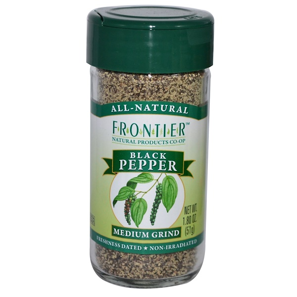 Frontier Natural Products, Black Pepper, Medium Grind, 1.8 oz (51 g) (Discontinued Item)