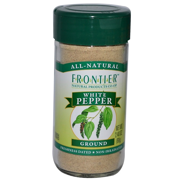Frontier Natural Products, Белый перец, молотый 2.40 унции (68 г) (Discontinued Item)